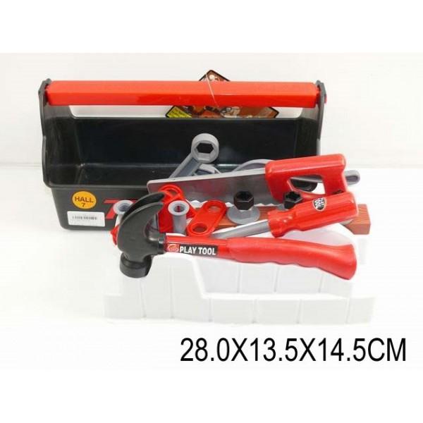 Набор инструментов  (925169) (T115B) отвертка, молоток, пила, линейка, в чемодане 28*13,5*14,5см