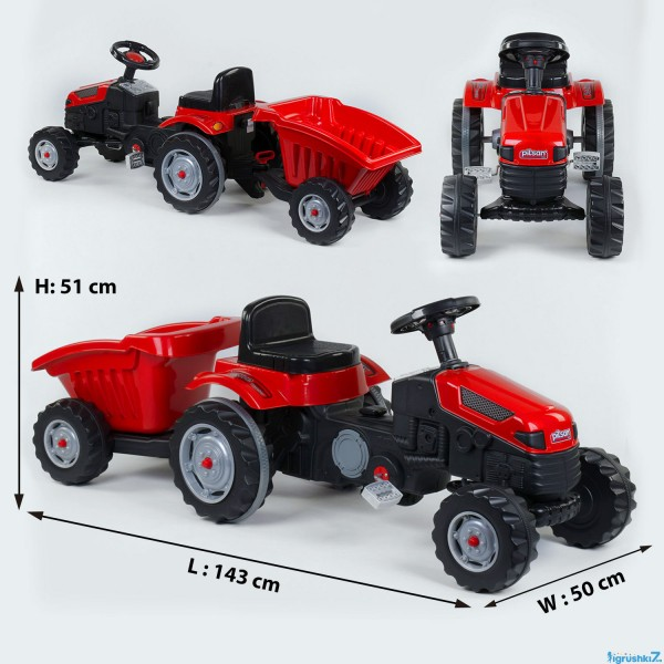 Трактор педальный с прицепом 07-316 RED (1)